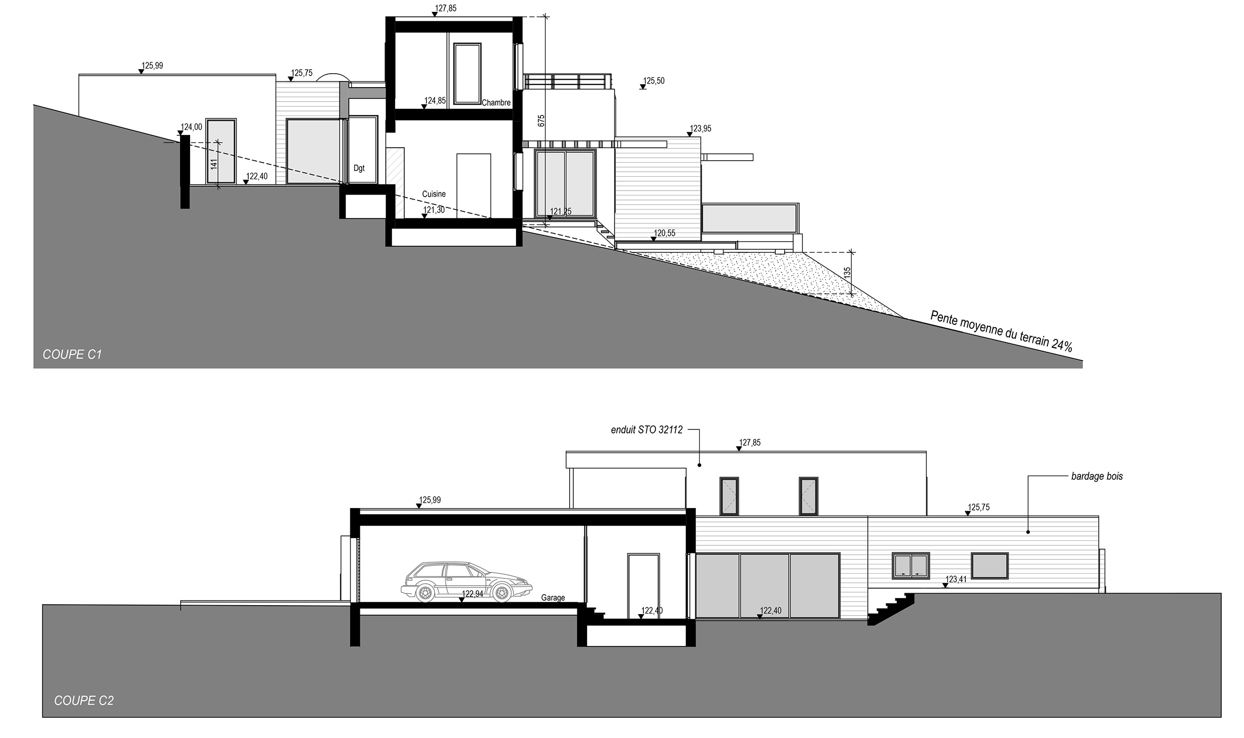 Plan maison en pente architecture maison moderne for Architecture et design maison