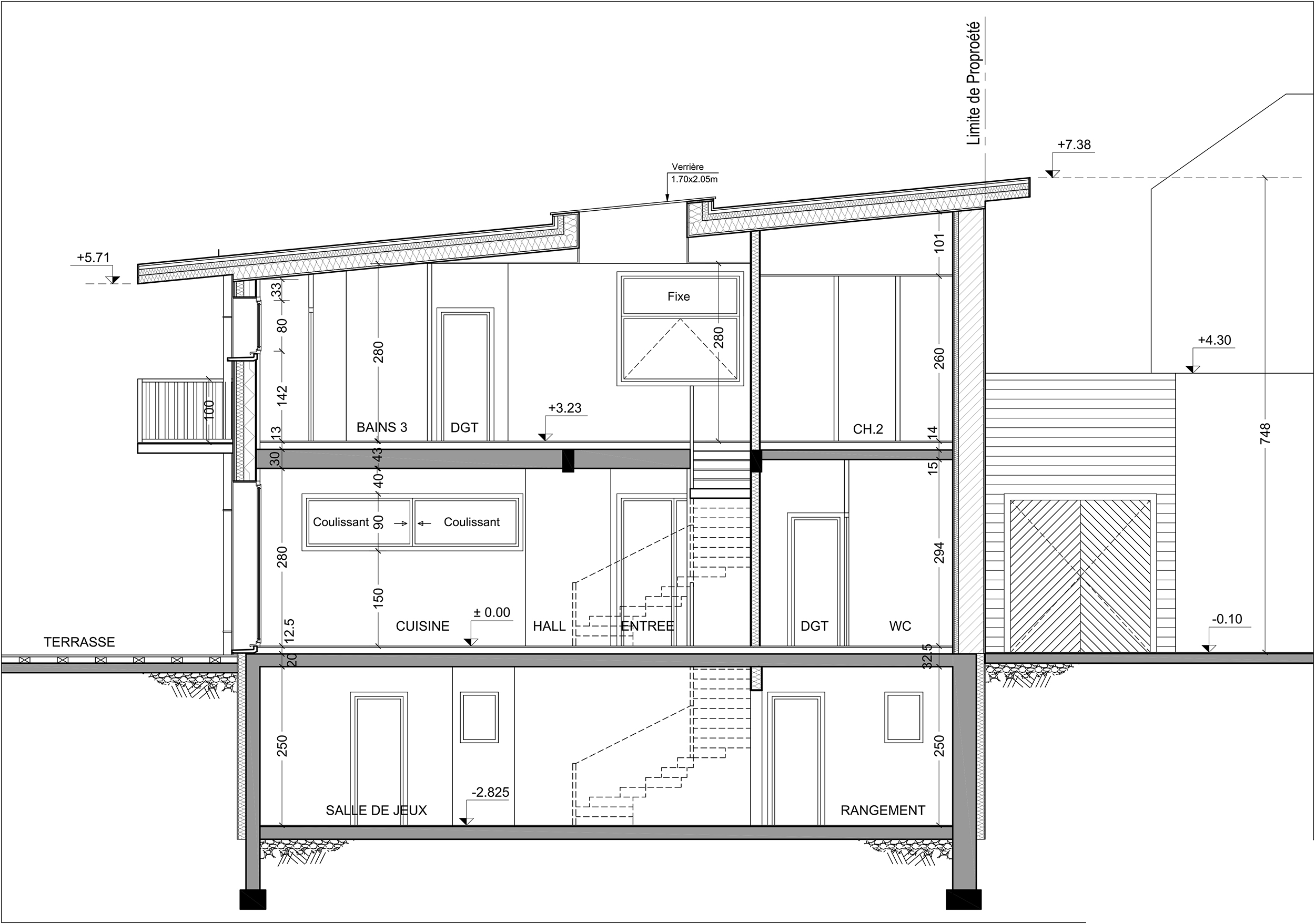 Mine r jouie architecture et bois maison et extension for Plan coupe maison